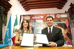 FIRMAN CONVENIO DE COLABORACION POR LOS DERECHOS DE LOS NIÑOS EL GOBIERNO DE ZACATECAS Y UNICEF