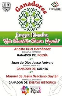 REVELAN NOMBRES DE LOS GANADORES DE LOS JUEGOS FLORALES