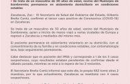 CONFIRMA SECRETARÍA DE SALUD DE ZACATECAS TERCER CASO POSITIVO DE CORONAVIRUS EN EL ESTADO