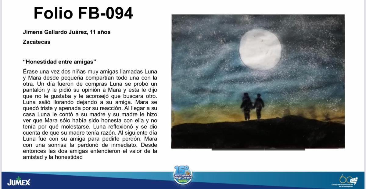 GANA MENCIÓN HONORÍFICA ESTUDIANTE DE ZACATECAS EN 15 CONCURSO NACIONAL DE DIBUJO INFANTIL