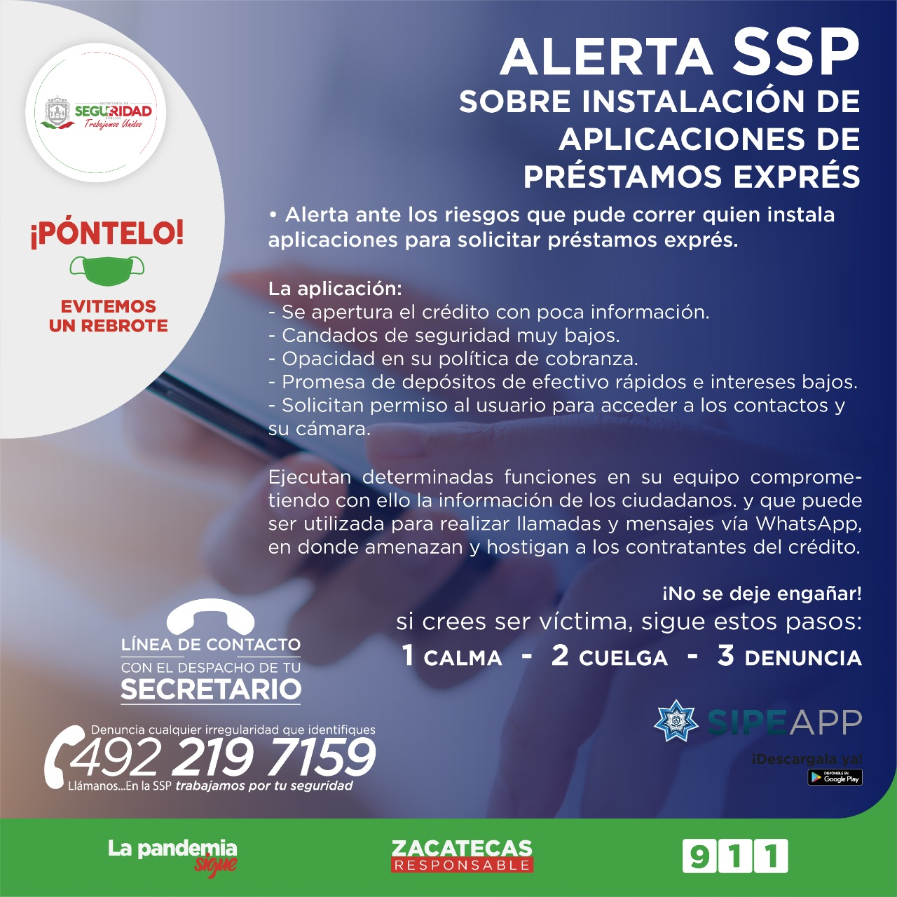 ALERTA SSP SOBRE INSTALACIÓN DE APLICACIONES DE PRÉSTAMOS EXPRÉS